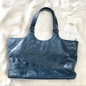 Tory Burch Stitch T-Burch Navy Tote